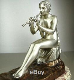 1890/1920 G Obiols Statue Sculpture Ep Art New Deco Bronze Woman Nude Euterpe