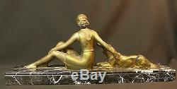 1900 Aa 58cm Statue Art Group 1900 New Lady Dog statue Regulates Deco Bronze