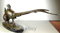 1920/1930 Av Becquerel Gr Rare Statue Sculpture Bronze Couple Animaliere Pheasants