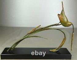 1920/1930 Av. Becquerel Rare Statue Sculpture Animaliere Art Deco Bronze Bird