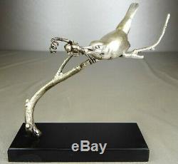 1920/1930 Av Becquerel Statue Sculpture Art Deco Bronze Bird Animal Argente