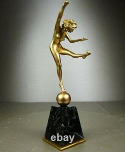 1920/1930 Cjr. Colinet Statue Sculpture Art Deco Bronze Dore Dancer Nude Balls