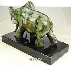 1920/1930 De Saint-floris Rare Statue Sculpture Bronze Art Deco Cubism Elephant