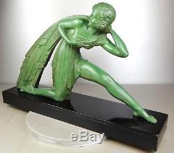 1920/1930 Dh. Chiparus Rare Grde Statue Sculpture Bronze Art Deco Woman Drapery