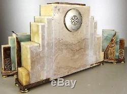 1920/1930 Fh Danvin Pendulum Trim Sculpture Art Deco Bronze Dore Silver Peacock