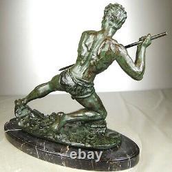 1920/1930 G Hervor Statue Sculpture Art Deco Athlete Nude Man Javelin Pat Bronze