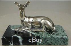 1920/1930 G. Lavrov Statue Sculpture Animaliere Art Deco Bronze Argente Biche