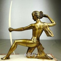 1920-1930 J Sabartes Gual Statue Sculpture Art Deco Bronze Diane Chryselephantine