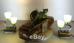 1920/1930 P. Hugonnet Pendulum Trim 2 Lamps Art Deco Statue Bronze Panthere