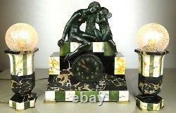 1920/1930 Suprab Hanger Cover Lamps Sculpture Art Deco Bronze Venus Cupidon