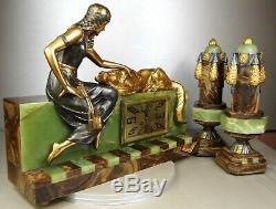 1920/30 A. Godard Pendulum Trim Sculpture Art Deco Orientalist Bronze Dore