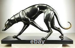 1920/30 Rochard Statue Sculpture Art Deco Bronze Animal Greyhound Levrier