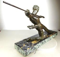 1920 M Deco Gr Rare Statue Sculpture Art Deco Cubism Bronze Hunter Man Nude