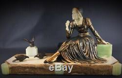 1925-1930 Sculpture Art Deco Statue By Dame Menneville Doves 53cm 15kg