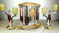 1930 Adnet Excpt Trim Pendulum Lamps Modernist Art Deco Bronze Dore Chrome