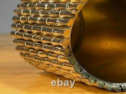 1970 Pot Bambou Art-deco Shabby-chic Bronze Metal Argent Adnet Jansen Pergay