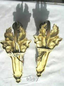 2 Art Deco Appliques, Golden Bronze Carved From Blackberries, Blue Glass Pink Tulip