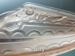 2 Lights Art Deco Mold Glass And Bronze Gave Paris Pair Applies