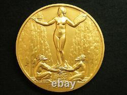 81mm Medaille Art Deco Bronze Gold Lucien Bazor 1932 Jean Honore Fragonard 1732