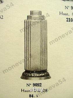 A. Bloch Lampe Building Art Deco In Bronze Nickeled - Globe In Pressed Glass 1930