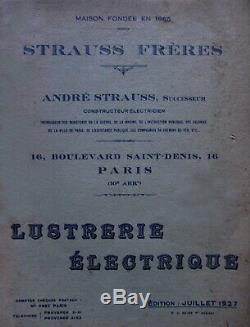 A. Strauss Suspension Art Deco Bronze Nickel & Clogs Pressed Glass 1930