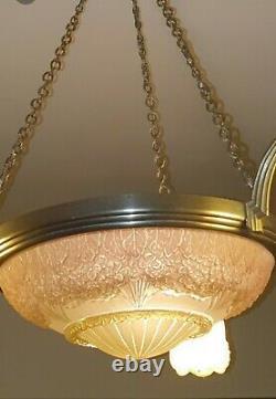 Ancient Art Deco Chandelier Bronze Double Signature Hettier 'vincent And Muller Brothers