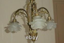 Ancient Golden Bronze Lustre 3 Tulip Lamps Glass Paste Art Deco Flower Shape