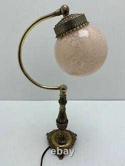 Ancient Little Lamp In Brass, Bronze And Glass Globe. Art Deco Style. Vintag