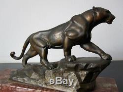 Ancient Sculpture Panther. Statue Regulates Patina Bronze. Art Deco