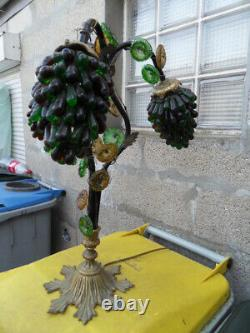 Ancient Tulip Lamp Grapes Clusters Murano Glass And Bronze Art Deco Lamp