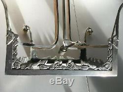Antique Large Silver Plated Plaque / Tulip Chandelier Mount Art Deco
