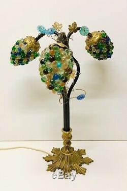 Antique Murano Beautiful Deco Lamp Bronze Clusters Grape Art Nouveau