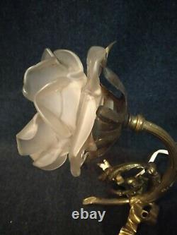 Applique Art Deco Bronze Flower Luminaire Lamp Light Decoration