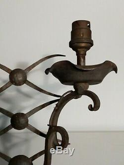 Applique (pair) Art Deco Wrought Iron In The Taste Of René Prou, Jules Leleu