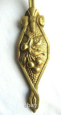 Art Deco Applique Gilded Bronze Carved From Cherries, Tulip Rose In Pink Glass