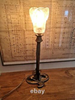 Art Deco / Art Nouveau Bronze Lamp. Tulip In Glass Paste By Dégué