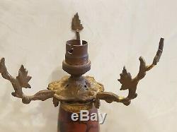 Art Deco Art Nouveau Enamel Foot Mushroom Lamp And Bronze Legras A Completer