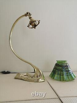 Art Deco / Art Nouveau Lamp Bronze. Irise Glass Tulip Attributed To Loetz