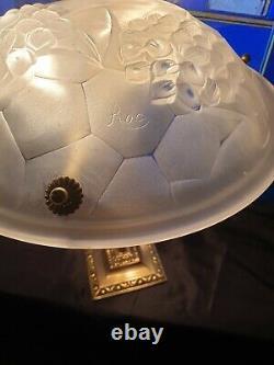 Art Deco Art Nouveau Lamp (bronze Or Laiton) Signed Ros (degué)