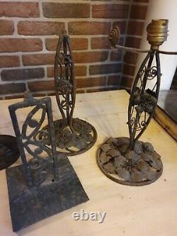 Art Deco Art Nouveau Wrought Lamp Feet Lot And Bronze (signed)