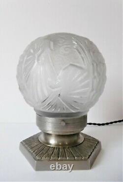 Art Deco Ball Lamp, Petitot & Muller Freres, Silver Bronze, Globe Paons, 1930