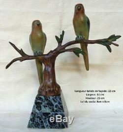 Art Deco Bronze Animal J. Brault. Two Connected Parakeets