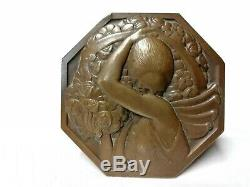 Art Deco Bronze Medal Bearer Plate -p Flowers. Turin (1891-1968)