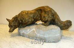 Art Deco Bronze Renard To The Significant Bartelier To 1910-20 L 45 CM