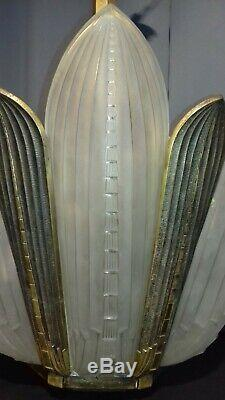 Art Deco Chandelier Genet & Michon 6 Plates Fins And Mount Bronze
