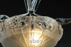 Art Deco Chandelier In Nickeled Bronze And Molded Glass Stamped Léon Hugue