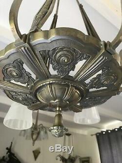 Art Deco Chandelier Lamp 1930 Tulip Basin Obus Donna Degue Maynadier Muller