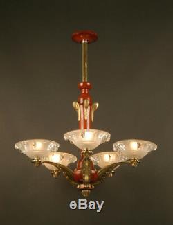 Art Deco Chandeliers Of The 1930 And Bronze Wood / Chandelier Art Deco