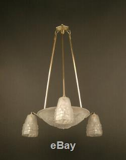 Art Deco Chandeliers Ros (degué) Brass, Bronze Viel Silver And Glass Molded-pressed