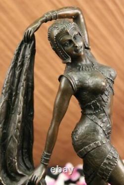 Art Deco Chiparus Erotic Dancer Bronze Sculpture Statue Font Marble Figure